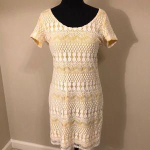Tiana B. Lace overlay dress yellow & white size S
